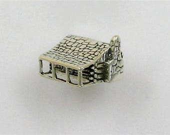 Sterling Silver 3-D Log Cabin with Chimney Charm