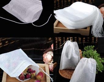 100 Empty Drawstring Tea Bags 3 Different Sizes