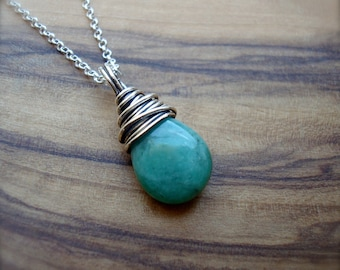 Emerald Necklace - May birthday gift for her - Raw Emerald - Sterling silver emerald pendant - May birthstone - Green necklace