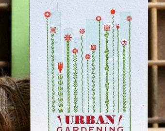 Urban Gardening mini letterpress poster card