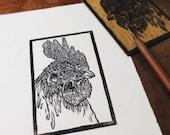Leghorn Rooster: Linocut ...