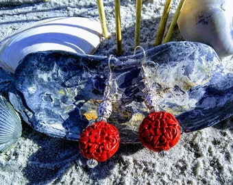 Red Cinnabar Beaded Dangle Style Earrings