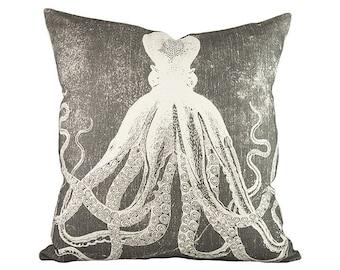 Octopus Throw Pillow, Charcoal Nautical Pillow