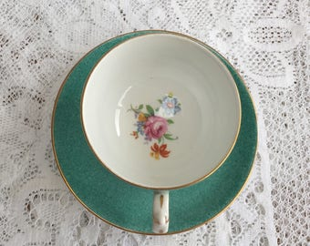1930's Grosvenor Fine China Demitasse Cup and Saucer in Dappled Aqua Green w Floral Detail