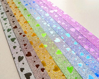 Sweet Hearts Fairy Dust Origami Lucky Star Paper Strips Rainbow Multicolor DIY - Pack of 32 strips
