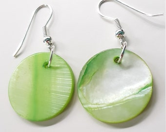 Pale green mother of pearl shell disc earrings