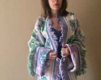 VTG 1980's off-white floral blanket sweater jacket
