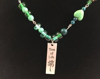 Green beaded Tree of Life necklace