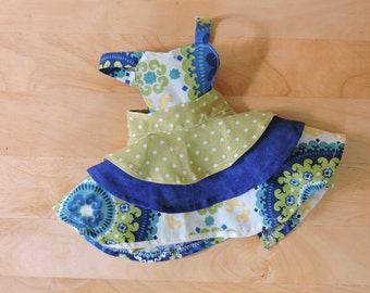 Doll Apron- Blue and Green 3 Tier