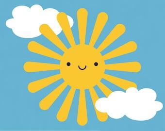 Happy Sun Decal Wall Sticker for Baby Nursery Kawaii Cute Kids Room Decor