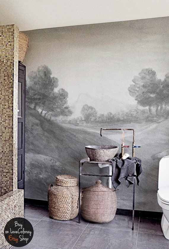 Vintage countryside painting wall mural Reusable Wall paper