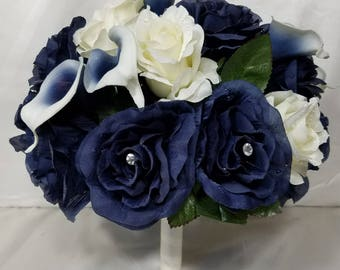 Navy Blue Ivory Rose Calla Lily Bridal Wedding Bouquet & Boutonniere