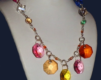 Swarovski Crystals Sterling Silver Modern Sparkly Necklace Thick Substantial Sterling Silver Chain