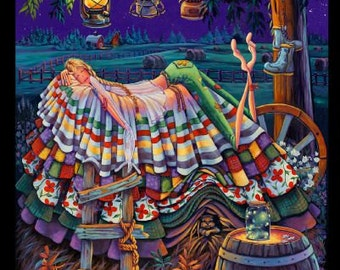 By the Panel, Prairie Princess, Princess on a Pea by Denyse Klette for Elizabeth's Studio, Cotton Quilt Fabric