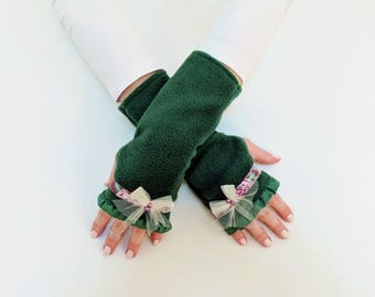 Unique Fingerless Gloves, Gift Womens, Hunter Green Fingerless Mittens, Arm Warmers, Hand Warmers with Bows, Best Friend Birthday Gift