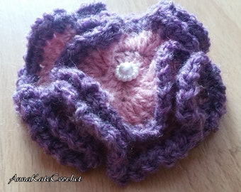 Crochet Flower Brooch, Pin - Pink & Purple Crinkle