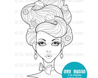 Marie Antoinette digital stamp, cupcakes in beehive hair digistamp and coloring page by SLS Lines