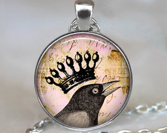 Royal Raven pendant, raven necklace raven jewelry raven jewellery, crowned crow necklace blackbird keychain key chain key ring key fob
