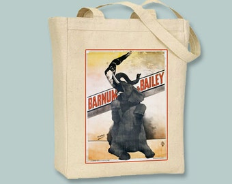 Vintage Barnum & Bailey Elephant and Acrobat Poster on BLACK or NATURAL Canvas Tote -- Selection of sizes available
