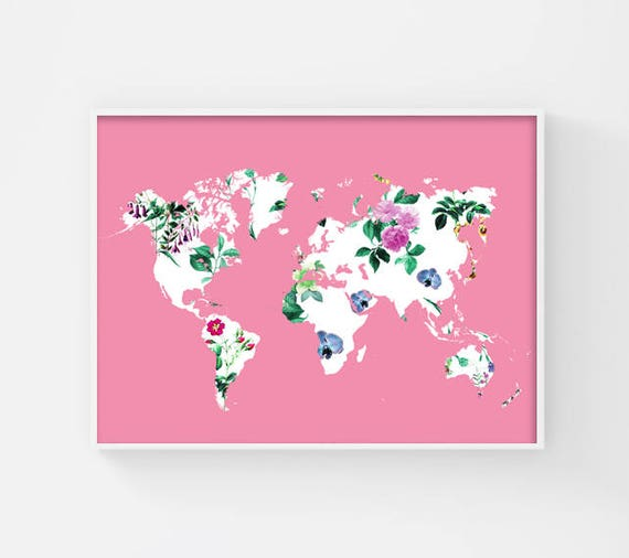 Floral world map poster printable world map pink world map gumiabroncs Images