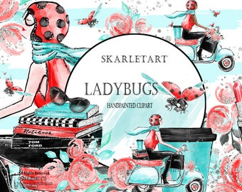 Fashion Clipart Watercolor Clipart Channel Clipart Girl Fashion Illustration Planner Cover Cute Ladybug Floral Girly Planner Supplies DIY