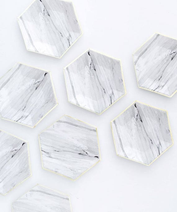 sc 1 st  Etsy & 8 x marble paper plates hexagon plates paper cake plates