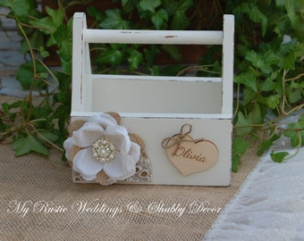Rustic Chic Flower Girl Basket / Shabby Chic Flower Girl Basket / Rustic Flower Girl Basket/Rustic Wedding/Shabby Chic Wedding Decor