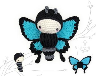 crochet pattern lalylala ULYSSES butterfly •  amigurumi caterpillar plus interchangeable wing set