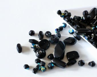 10 g black glass beads different shapes faceted iridescent smooth