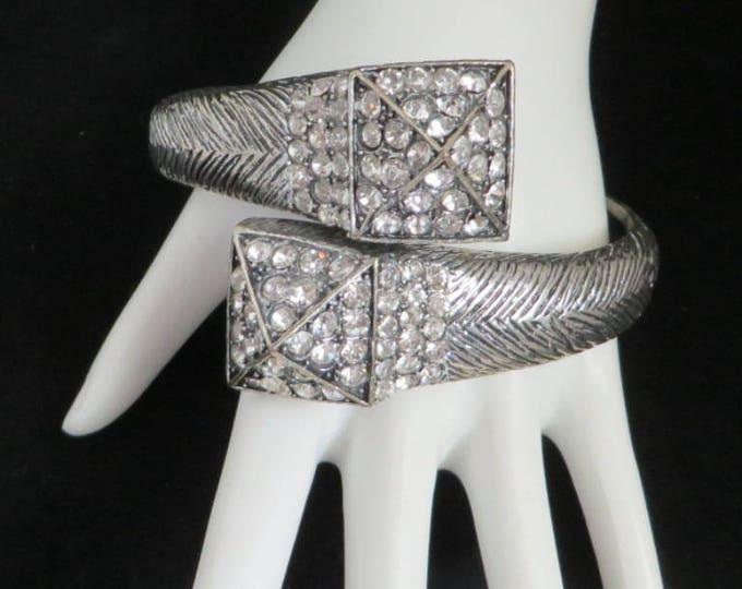 Clamper Bracelet, Vintage Rhinestone Bracelet, Wrap Bracelet, Silvertone Statement Jewelry, Party Bracelet, Gift Ideas