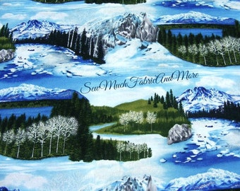 The Last Frontier Fabric~by the yd~Robert Kaufman~Scenic snow covered mountain landscapes