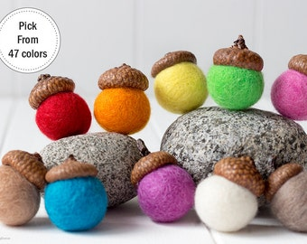 Felt Acorns x 10. Rainbow Felted Acorns. Christmas tree decor. Gift Tags. Wool Felt Ball Acorns. Christmas decoration. Christmas Ornaments