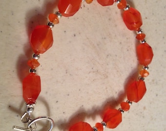 Orange Bracelet - Sterling Silver Jewelry - Carnelian Gemstone - Beaded Jewellery - Fashion