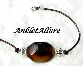 CHOCOLATE LEATHER Anklet Beach Ankle Bracelet Stone Anklets for Women GUARANTEED