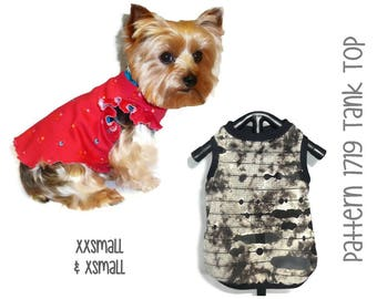 Dog Tank Top Pattern 1719 * Dog Shirts * Dog Tank Top * Dog Clothes Pattern * Dog Shirt * Dog Summer Clothes * Dog Sports * XXSm & XSm