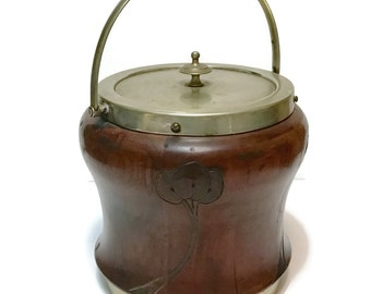 Antique English Frank Cobb & Co. Sheffield silverplate ceramic and mahogany wood tobacco jar, hand carved