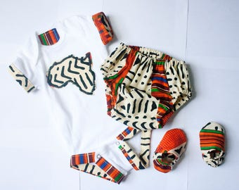 Unisex African Kente Print Bloomer / Diaper Cover Set - Gifts for Parents,Ankara,Baby Clothing Sets,