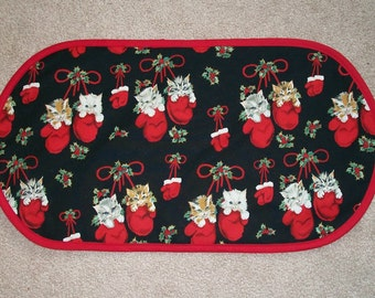 """Clearance Sale! Quilted Winter Holiday Christmas Kitty Cats in Mittens Placemat Table Runner Centerpiece 12 3/4"""" x 24"""""""