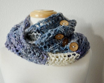 Winter Heather Hand Knit Button Up Wrap, Cowl, Scarf, Poncho - Versatile Knit from Handspun Yarn in Soft Thistle Purple, Cream, Grey.