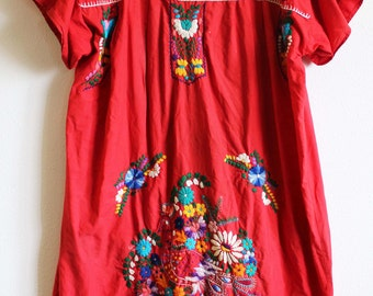 Embroidered Guatemalan dress Huipil boho hippie medium/large brights traditional floral Quiche blue