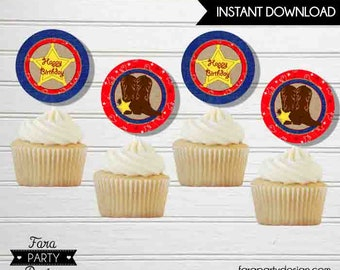 Cowboy Birthday Party PRINTABLE Cupcake Toppers by Fara Party Design | Western Theme Birthday | Sheriff Birthday