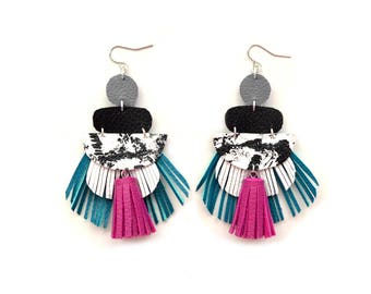 Colorful Statement Earrings Fringe Leather Earring, Leather Tassel Earrings, Tassel Jewelry, Tassel Drop Earrings, Statement Dangle Earrings