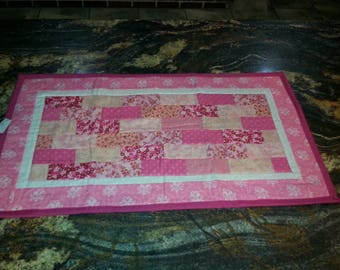 Clearance quilted table runner, patchwork table runner, quilted table topper, quilted table decor, mini quilt, quilted candle mat