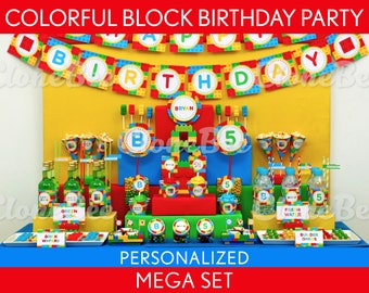 Colorful Blocks Birthday Party Package Collection Set Mega Personalized Printable // Colorful Blocks - B22Pz2