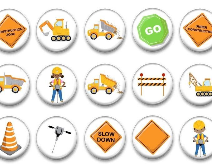 Construction Magnets - Refrigerator Magnets - Party Favors - Fridge Magnets - Gift for boys - Trucks - Tractors