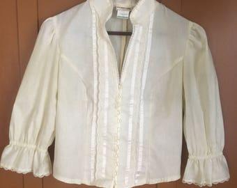 Vintage Gunne Sax Edwardian Cream/Ivory Blouse with 3/4 length sleeves size 13