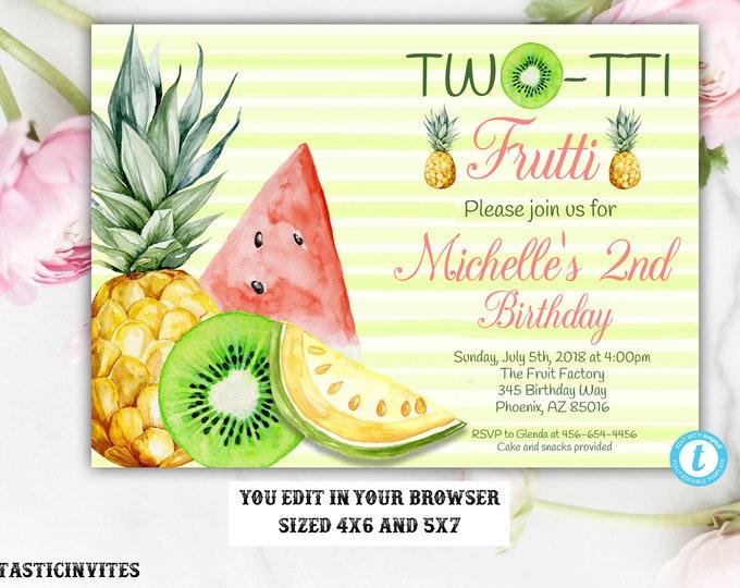 Fruit Birthday Invitation Template, Two-tti Frutti Birthday Invitation Template, Two-tti Frutti, Twotti Frutti, Instant Download, Editable