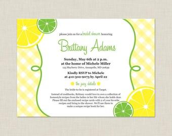 Lemon Bridal Shower Invitation / Summer Invitation