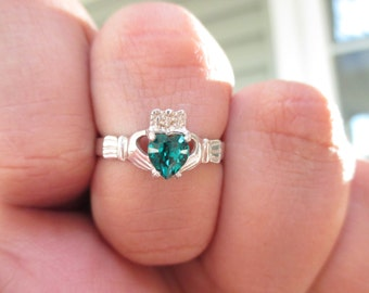 Birthstone Claddagh Ring -Sterling Silver made with Swarovski Stones*