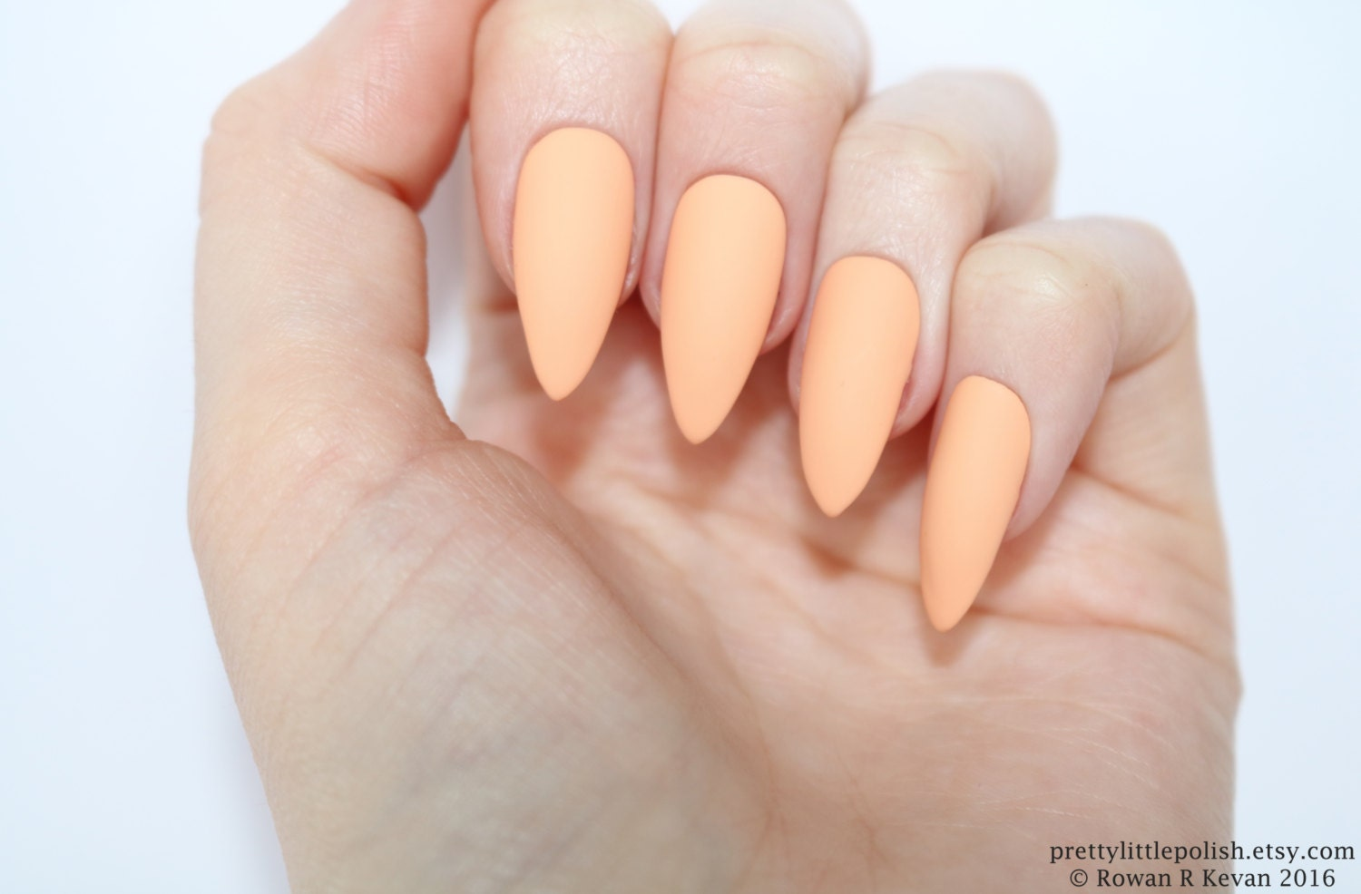 Stiletto nails Matte peach stiletto nails Fake nails Press
